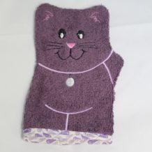 gant de toilette chat violet et plumes