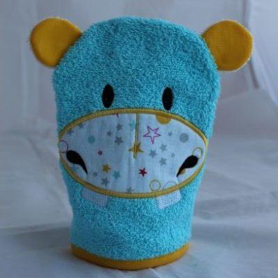 Gant De Toilette Hippo Turquoise étoilé