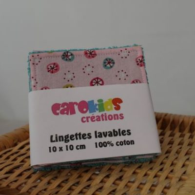 Lingettes Lavables Motifs Cercles Fond Rose