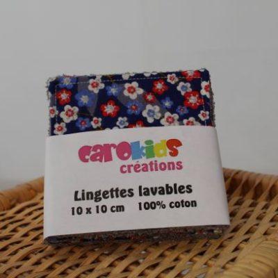 Lingettes Lavables Motifs Petites Fleurs Fond Bleu Marine