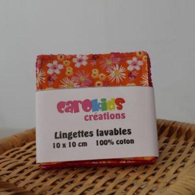 Lingettes Lavables Motifs Petites Fleurs Fond Orangé