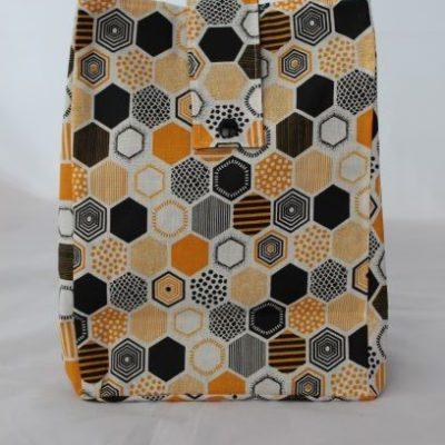 Lunch Bag Toile Enduite Motifs Géométriques Orange Et Noir