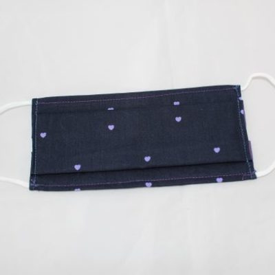 Masque En Tissu Taille Adulte Motifs Petits Coeurs Violet Fond Bleu Marine