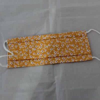 Masque Lavable En Tissu taille adulte Petites Fleurs Fond Jaune Moutarde