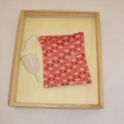 Pochon Cup Menstruelle En Coton Enduit Motif Petit Pan Orangé
