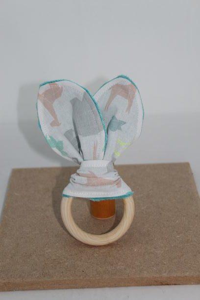 Anneaux De Dentition Bois Naturel Oreilles De Lapin Motif Animaux Origami