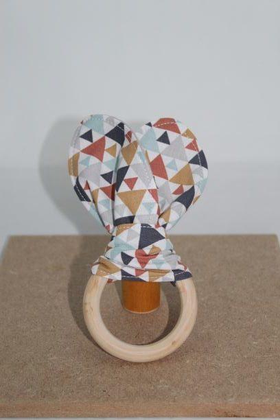 Anneaux De Dentition Bois Naturel Oreilles De Lapin Motif Triangle Multicolore