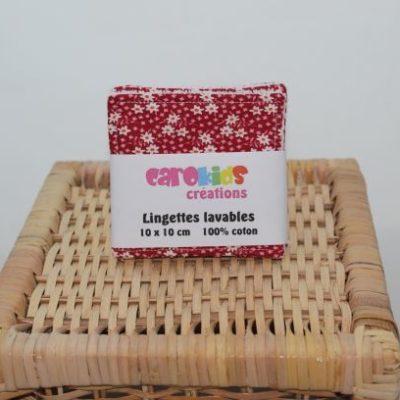 Lot De Lingette Lavable Zéro Déchet Motif Petites Fleurs Fond Rouge Rubis