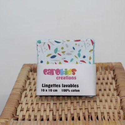 Lot Lingette Lavable Zéro Déchet Motif Petites Feuilles Multicolores