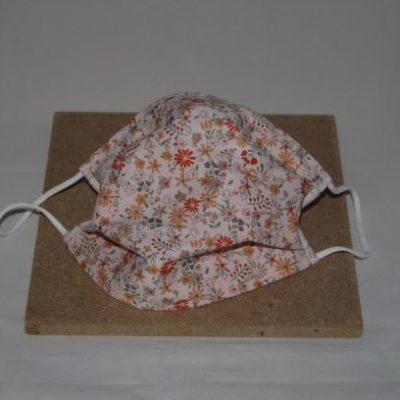 Masque En Tissu Lavable Taille Adulte Motifs Fleur Esprit Liberty Fond Blanc