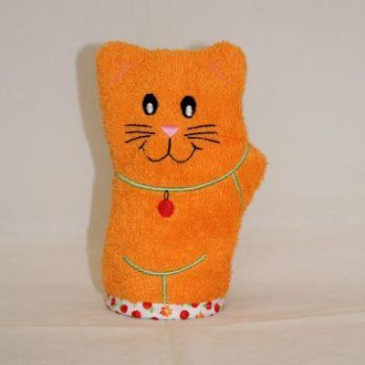 Gant De Toilette Chat Taille Enfant Orange Et Vert