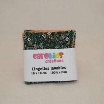 Lingette Lavable Zéro Déchet Motifs Fleurs Vert Foncé