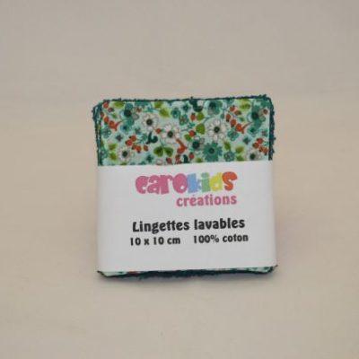 Lingette Lavable Zéro Déchet Motifs Petites Fleurs Blanches Et Rouges Fond Vert Clair