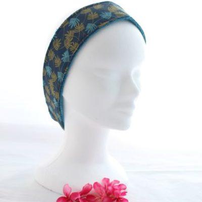 Bandeau Cheveux Pour Soin Démaquillant Motifs Fleuilles Turquoises Et Dorées Fond Bleu Marine