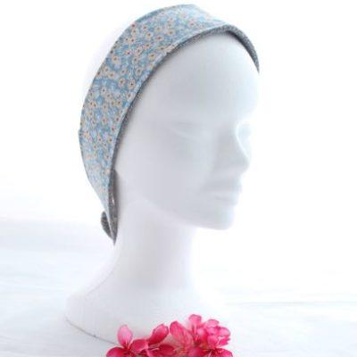 Bandeau Cheveux Pour Soin Démaquillant Motifs Fleurs Bleues Et Beiges