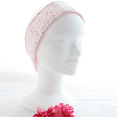 Bandeau Cheveux Pour Soin Démaquillant Motifs Formes Rondes Roses Fond Blanc